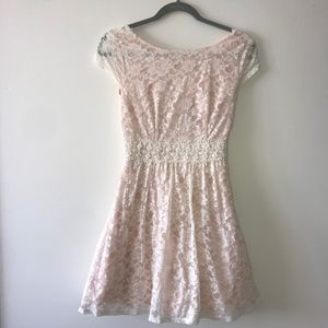 Peach/Pink Lace Mini Dress